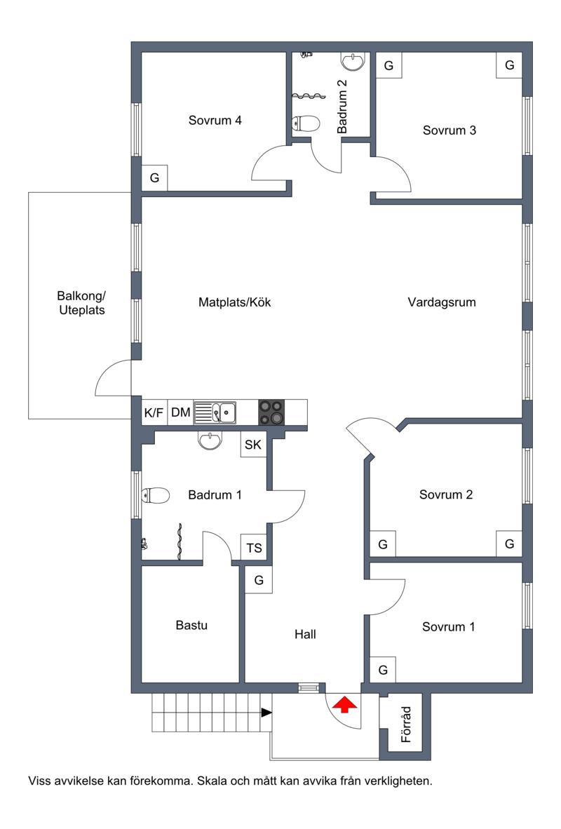 Planritning höger lägenhet