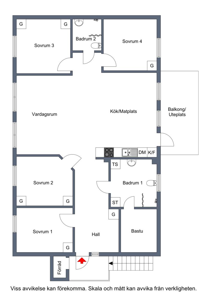 Planritning vänster lägenhet